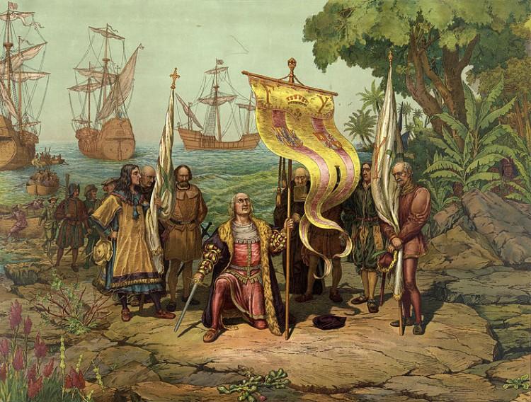 Outra ilustração da chegada de Colombo. Note que, se na imagem anterior os índios aparecem no canto, nessa eles desaparecem